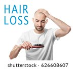 hair loss concept. man with... | Shutterstock . vector #626608607