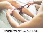 man is putting off his partner... | Shutterstock . vector #626611787