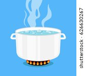 boiling water in pan. white... | Shutterstock .eps vector #626630267
