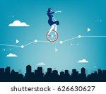 businesswoman balancing on... | Shutterstock .eps vector #626630627