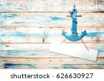 vintage anchor on old wooden... | Shutterstock . vector #626630927
