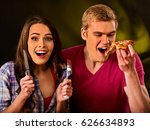 couple eating in fast food... | Shutterstock . vector #626634893