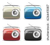 set vintage radio. vector... | Shutterstock .eps vector #626645087