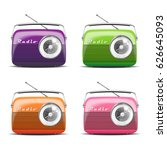 set vintage radio. vector... | Shutterstock .eps vector #626645093