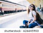 cute asian traveler sit at... | Shutterstock . vector #626645903