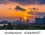 skyline sunset at seoul city... | Shutterstock . vector #626646437