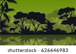 silhouette rain forest with... | Shutterstock .eps vector #626646983