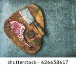 dry aged raw beef rib eye steak ...   Shutterstock . vector #626658617