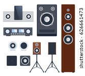 home sound system stereo flat... | Shutterstock .eps vector #626661473