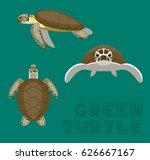 sea green turtle loggerhead... | Shutterstock .eps vector #626667167