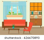living room interior design in... | Shutterstock .eps vector #626670893