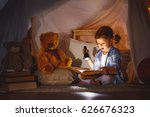 child girl reading  with  book... | Shutterstock . vector #626676323