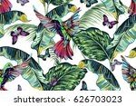 exotic birds  hummingbird  palm ... | Shutterstock .eps vector #626703023