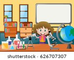 girl and different science... | Shutterstock .eps vector #626707307