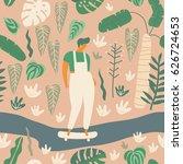 girl skater riding longboard... | Shutterstock .eps vector #626724653