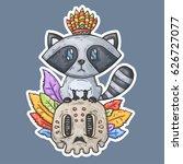 cartoon raccoon sits on the... | Shutterstock .eps vector #626727077