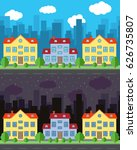 vector city with three two... | Shutterstock .eps vector #626735807