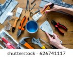 professional builder work with... | Shutterstock . vector #626741117