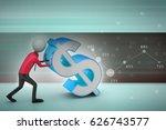 3d illustration of man pushing... | Shutterstock . vector #626743577