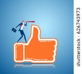 businessman stand on thumb up... | Shutterstock .eps vector #626743973
