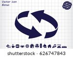 rotation arrows icon vector... | Shutterstock .eps vector #626747843