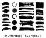 set of black paint  ink brush... | Shutterstock .eps vector #626755637
