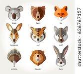 animals set icon head muzzles...