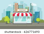 storefront in city vector...