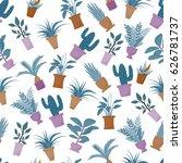 house plant seamless pattern.... | Shutterstock .eps vector #626781737