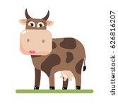 cow with big horns. vector... | Shutterstock .eps vector #626816207