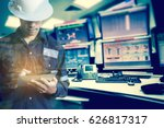 double exposure of  engineer or ... | Shutterstock . vector #626817317