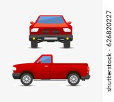 flat red pickup car vehicle... | Shutterstock .eps vector #626820227