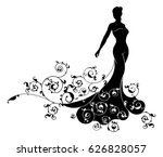 a bride wedding silhouette with ... | Shutterstock .eps vector #626828057