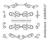 vintage calligraphic vignettes  ... | Shutterstock .eps vector #626828117