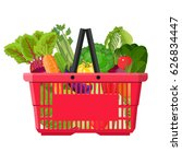 full basket with different... | Shutterstock . vector #626834447
