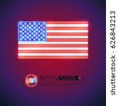 usa flag neon signs makes it... | Shutterstock .eps vector #626843213