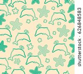 dolphin design with green... | Shutterstock . vector #626848583