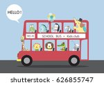 many animals riding on a bus... | Shutterstock .eps vector #626855747