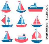 set of boat icons | Shutterstock .eps vector #626860073