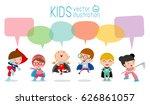 cute superhero kids with speech ... | Shutterstock .eps vector #626861057