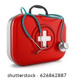 stethoscope standing on first... | Shutterstock . vector #626862887