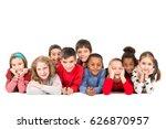group of happy children posing... | Shutterstock . vector #626870957