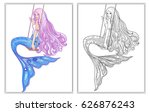 hand drawn mermaid with long... | Shutterstock .eps vector #626876243