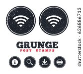 grunge post stamps. wifi sign....