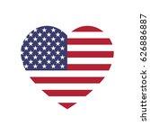 usa flag in a shape of heart.... | Shutterstock .eps vector #626886887