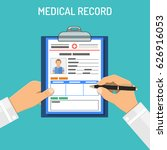 doctor holds medical record and ... | Shutterstock .eps vector #626916053