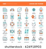 vector set of leisure and... | Shutterstock .eps vector #626918903