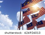 malaysia flags waving in the... | Shutterstock . vector #626926013