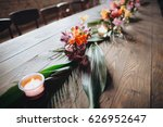 on a vintage wooden table are... | Shutterstock . vector #626952647