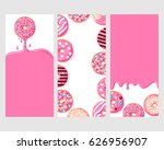 a set of three posters   pink... | Shutterstock .eps vector #626956907